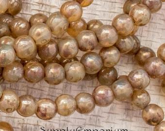 6mm Opal Champagne Picasso Druk Bead - Czech Glass Beads - 25 beads - 1523