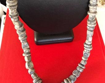 Unique Gray Handmade Clay Bead Necklace