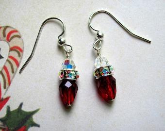 Christmas Lights Earrings, Holiday Earrings, Swarovski Earrings, Rhinestone Earrings, Red Earrings, Christmas Jewelry, Dangle Earrings