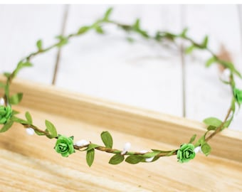 Flower Crown Fairy Green Leaf Crown Hair Tiara Flower girl Hair Piece Wedding Flowergirl flower crown Boho Rose
