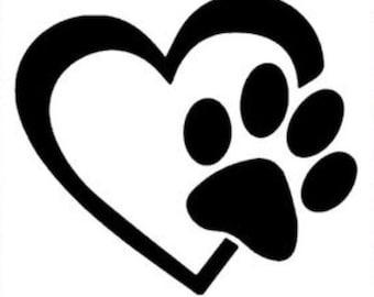 Heart paw print Vinyl Decal
