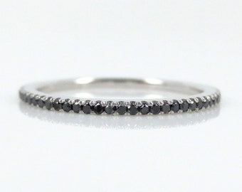 Micro Pave Black Diamond Eternity Band set in 18k White Gold