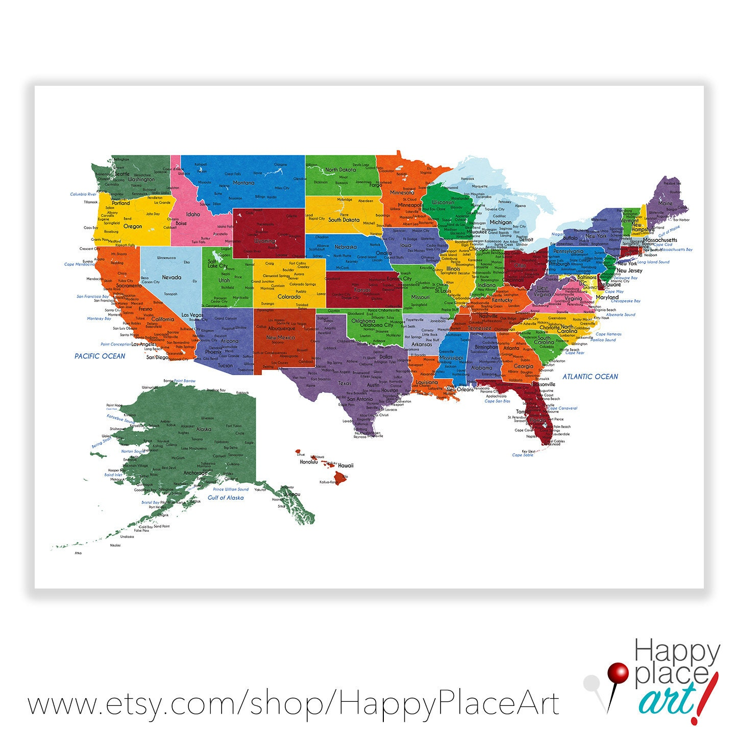 Detailed USA map with cities and states labels US map print
