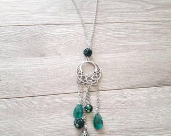 Long necklace with Emerald charms. Stainless steel chain