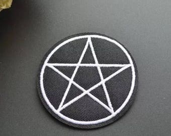 Pentagram Star Patch - Iron on Patch, Sew On Patch, Embroidered Patch, Embroidered Applique, Patch For Jeans