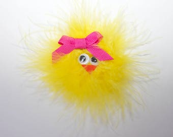 Chick hair clip, easter chick bow, easter chick headband, Easter baby bows, baby chick hair clip, Spring chick baby bow, feather chick bow
