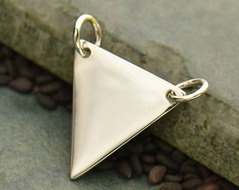 Sterling Silver Large Flat Plate Triangle Festoon -Stamping -Gift Idea