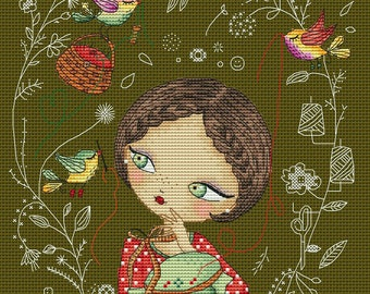 "Crossstitch pattern ""Eloize"",size 106x149 crosses(19x27cm at  14 count),32 colors DMC"