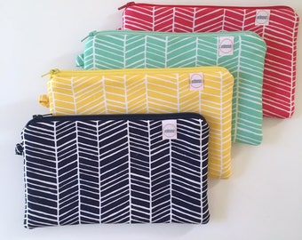 Zipper pouch, cash envelope, Eyeglasses case, herringbone, computer cords bag, bag for mom, Cosmetic makeup case, journal supplies bag