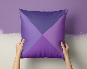 Square Throw Pillow-Shades of Ultraviolet-Purple-Geometric-Triangles-Lounge-Bedroom-Colour Trend