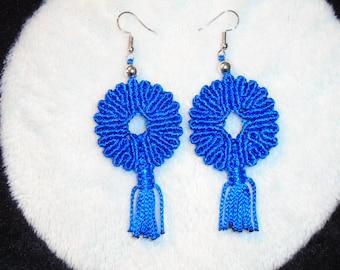 Blue Mecrame Earring