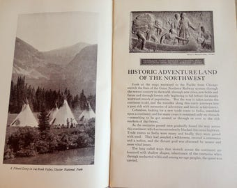 Great Northern Railroad Memorabilia Booklet Historic Land of the Northwest by Grace Flandrau Includes Detailed Map