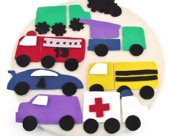 Car and Truck Felt Board, Busy Bag Toy, Gift Activity Toy, Montessori Activity, Preschool Toy, Vehicles for Toddlers, Toddler Activity Toys