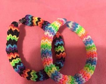 Rainbow Loom set of 2 hexafish bracelet