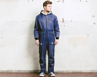 Vintage Men's COVERALLS . 80s Blue Garage Car Mechanic OVERALLS Thick Insulated Pilot Overalls 80s Jumpsuit Outerwear . size Medium