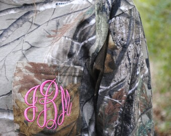Monogrammed Realtree Camouflage Long Sleeve Pocket T-Shirt