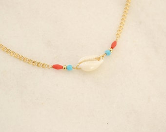 Cowrie Boho Shell Necklace with Turquoise Gemstone and Red Heishi Beads - Boho Jewelry