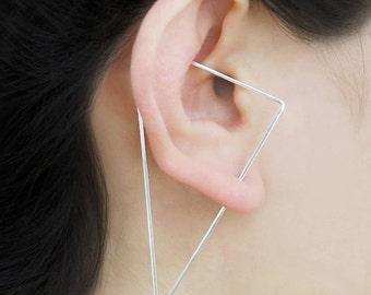 Triangle Ear Climber, Designer Earring, Edgy Earrings, Sterling Silver, Modern Earrings, Triangle Earrings, Ear Crawler, Wire Earrings, 925