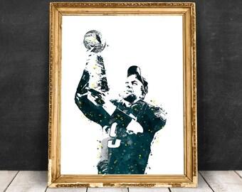 Nick Foles Philadelphia Eagles NFL Quarterback Watercolor Print Poster, sports art print, Football drawing illustration, NFL painting