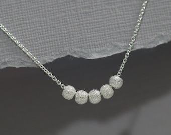 Delicate Sterling Silver Stardust Layering Necklace, Tiny Sterling Silver Ball Necklace, Sterling Silver Tiny Dot Necklace, Gift for Her