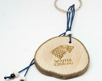 Olive Tree trunk Keychain - Winter Is Coming