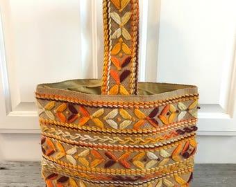 70s Crochet Embroidery Tote/Purse