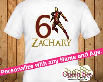 Iron Man Birthday Shirt - kids Birthday Shirts - Personalized Shirts - Custom Shirts - Kids - Birthday Shirts-