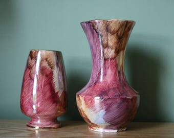 Pair of beautiful Old Courtware lustre hand painted vases.  In good condition