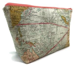 Extra Large Cosmetic Bag, Toiletry Bag, Travel Bag, Makeup Bag, Wet Bag, Waterproof Bag in Expedition Map
