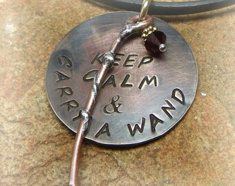 Harry Potter Inspired Keep Calm and Carry a Wand Hogwarts Gryffindor Necklace Brass Copper Silver Vermeil- Handmade Fun