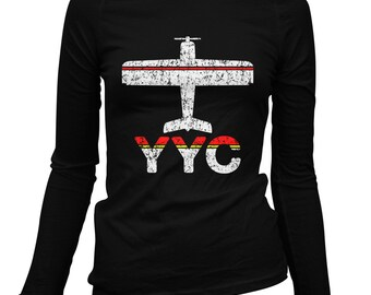 Women's Fly Calgary Long Sleeve Tee - YYC Airport - S M L XL 2x - Ladies' Calgary T-shirt, Alberta, Canada - 1 Color