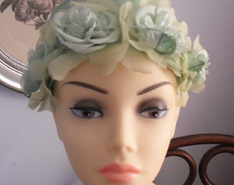 Vintage HAT -  A Green PILLBOX with Green ORGANZA Flowers Stunningly Beautiful for any Dress Up Occasion