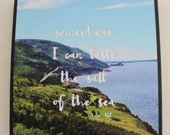 Canvas photo print 8x8 Cape Breton, Nova Scotia, Cabot Trail with U2 quote for wall or shelf