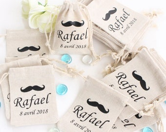Mustache custom goodies for favors baptism communion wedding