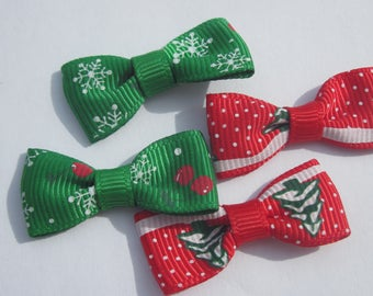 fabric bow on the grounds of 34 mm approx - Christmas (A35