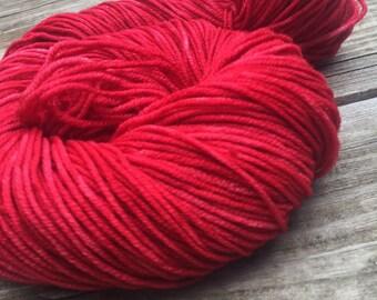 Captain Blood Red Hand Dyed Worsted Weight Yarn Hand Painted yarn 218 yards Superwash Merino Wool brick red rose crimson