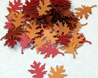 Autumn Metallic Leaf Confetti, 75 Hand Punched Pieces