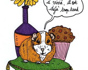 Cute rodent original drawing, flower and pastry: pig India, sunflower, muffin and sad text