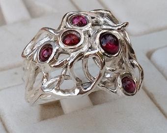 Garnet Silver Ring ,Birthstone Ring ,Silver 925 Ring ,Handmade Garnet Ring ,Multistone Garnet Ring ,Statement Garnet Ring ,Valentine's Day