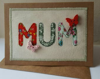 "Appliquéd fabric card ~ Mum, Mothers day, Birthday, Greetings card, Handmade in Wales 5x7"" FREE UK POSTAGE"