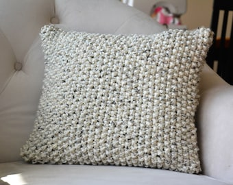 Knit Textured Oatmeal Throw Pillow Cover / Decorative Knitted Throw Pillow