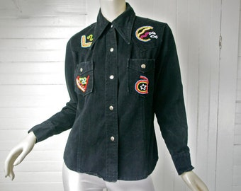 70s Denim Hippie Shirt in Black Vintage Rainbow Beads- Hippie Festival / Boho- 1970s- Beadwork- Disco- Jean Jacket Cotton Rock n Roll Medium