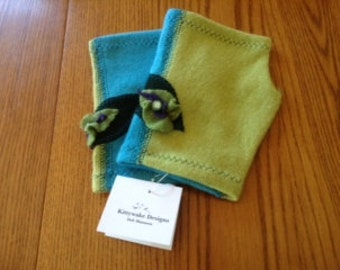 Cashmere Turquoise & Green Mitts