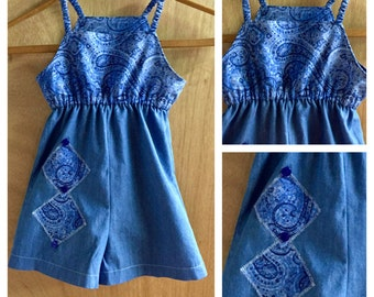Cotton and Denim Boho Summer Jumper, girls size 5
