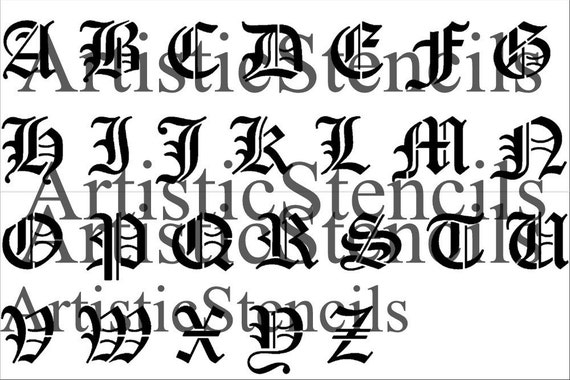 10mm Old English Lettering Letters Art Craft Guide Drawing ...