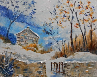 """Painting  landscape """" The small house of mountain """""""