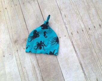 Baby Mütze - verknotet Baby Hut - Hut mit Blumen - Baby Mütze