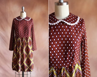 vintage 1970's brown polka dot printed babydoll dress with peter pan collar / size s