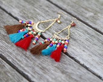 Tassel Beaded Nepalese Earrings