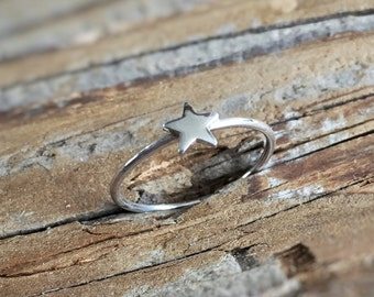 Silver Star Ring, Star Ring, Stacking Ring, Midi Ring, Knuckle Ring